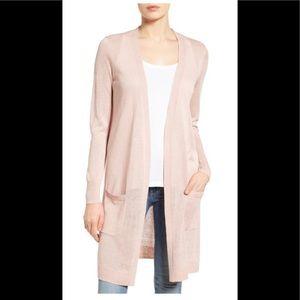 Nordstrom Halogen long pink cardigan L